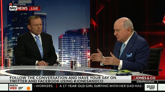 Tony Abbott on Jones and Co on Tuesday night, defending his running commentary of the government's performance. Picture: Supplied