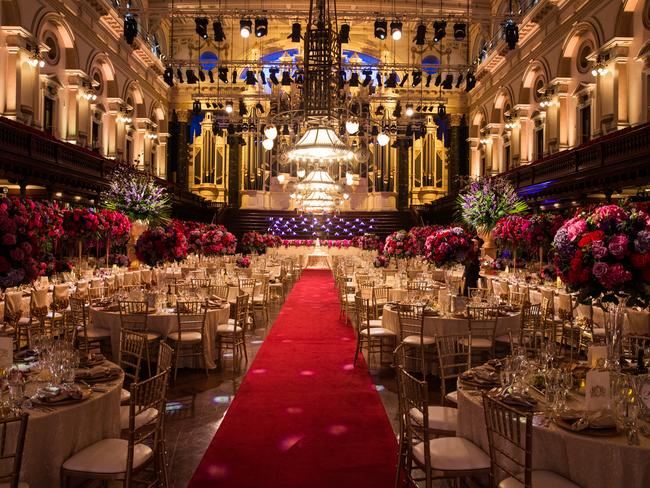 The couple's wedding reception at Sydney Town Hall.