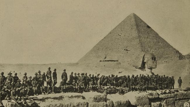 Seeing the sights ... soldiers pose near the Sphinx and Cheops before being shipped on to the horrors of Gallipoli. Diggers were fascinated by Egypt — for many, it was their first trip to a foreign land.