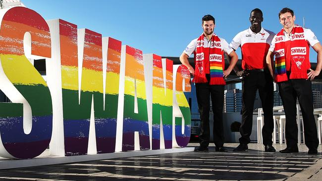 Nic Newman, Aliir Aliir and Nick Smith are ready for the AFL Pride Game. Picture: Phil Hillyard