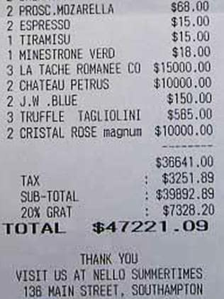 Abramovich thinks nothing of a $47,000 restaurant bill.
