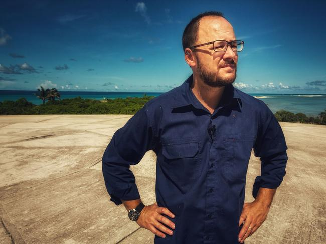 Foreign Correspondent's Mark Willacy stands on top of the Dome in Runit, a tiny outpost on the Marshall Islands. Picture: ABC