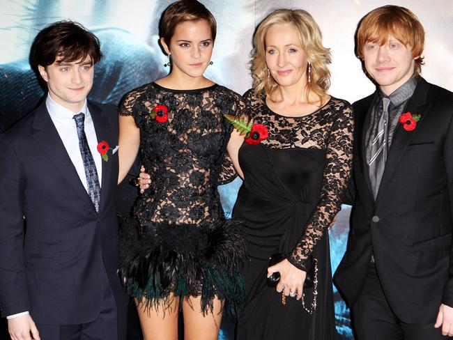 Big stars ... Daniel Radcliffe, Emma Watson, JK Rowling and Rupert Grint. Picture: Dave Hogan/Getty Images