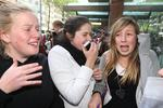 Teen heart throb Cody Simpson performs at Ch-7 Sunrise show this morning.Lots of adoring teenage fans waited for him outside.Pic of Lto R Madeline Hinds,14 Katie Stenmark, 14 and Claire Challenor ,15 Picture: Ross Schultz