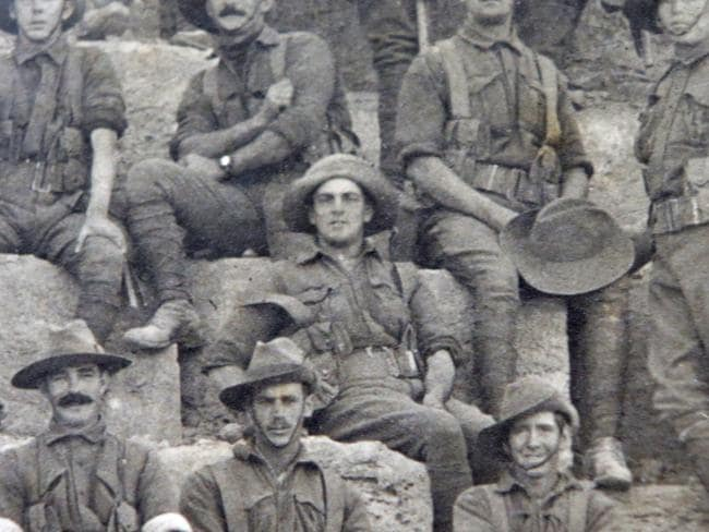 Middle man ... Private Charles Steadman (centre) in the Cheops photo.