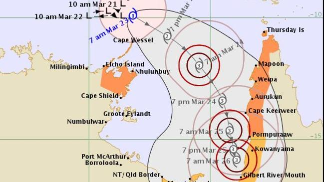 Likely track of Cyclone Nora, as of Friday morning. Picture: Bureau of Meteorology