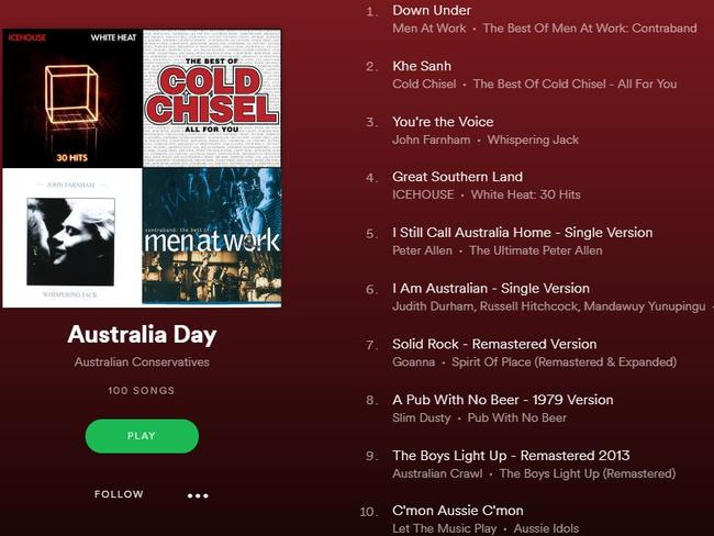 Cory Bernardi's Australia Day playlist on Spotify. Pic: Supplied
