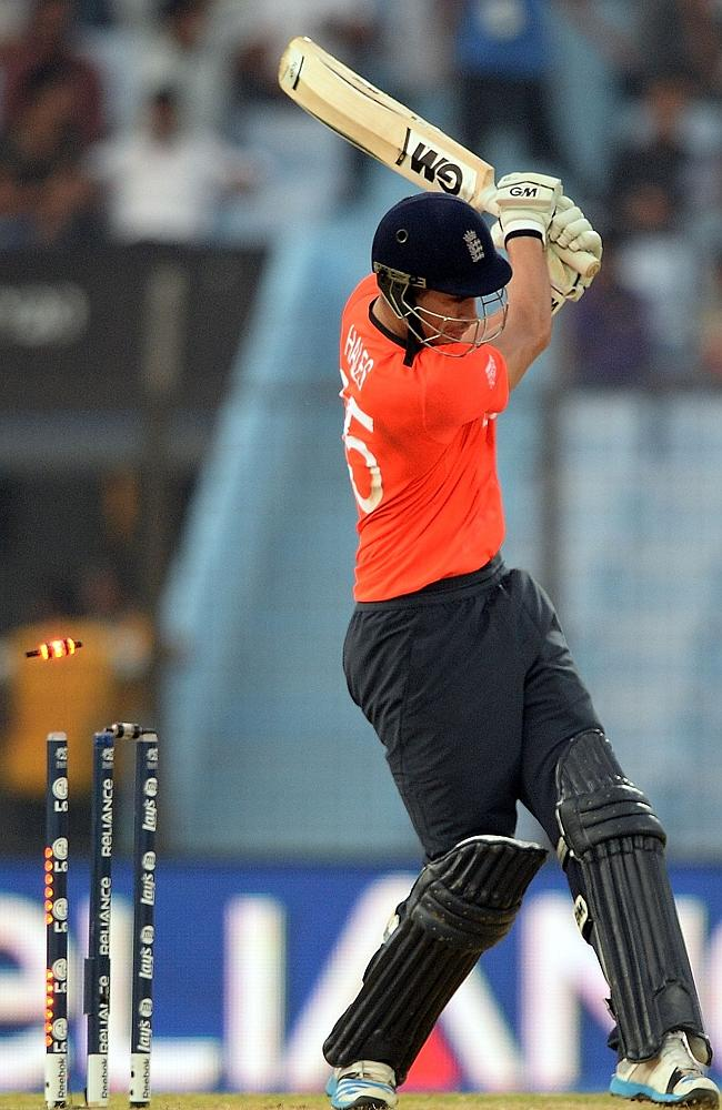 Star England batsman Alex Hales's stumps are rattled by Netherlands bowler Mudassar Bukha