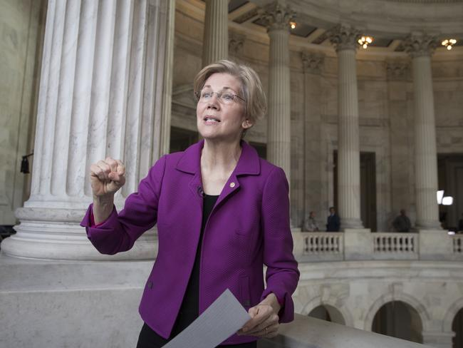 Senator Elizabeth Warren reacts to being rebuked by the Senate leadership and accused of impugning a fellow senator. Picture: AP Photo/J. Scott Applewhite