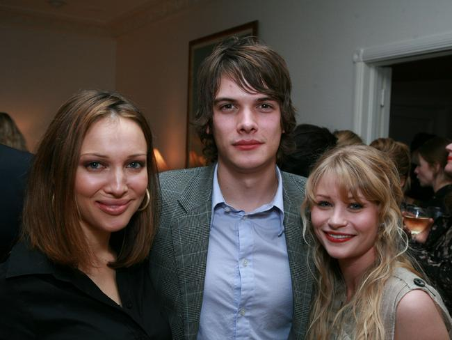 Young love ... Josh Janowicz and Emilie de Ravin (with Aussie actor Kate Beahan, left) in 2007 just after their marriage.