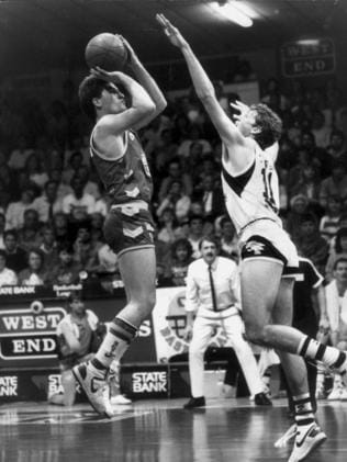 Darryl Pearce takes a shot during an Adelaide 36ers-Perth Wildcats match at the Apollo Stadium in 1987.