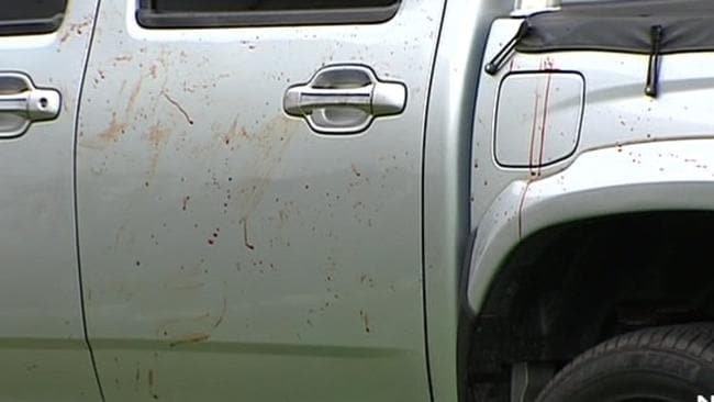 Blood splattered on the car owned following the shocking attack. Picture: 7 News