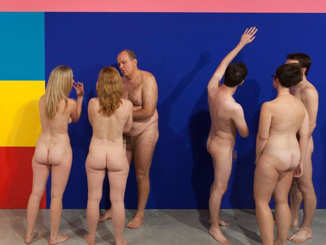 All out ... spectators enjoy an exhibition on one of Stuart Ringholt's previous nude tours. Picture: National Gallery of Australia