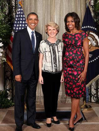 Friends no more? President Obama and First Lady Michelle Obama with Julie Bishop last year.
