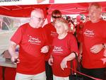 Daniel's grandparents Kevin and Monique Beavis with Bruce Morcomb and Daniel's twin Bradley at a fundraising walk. Picture: Graeme Parkes