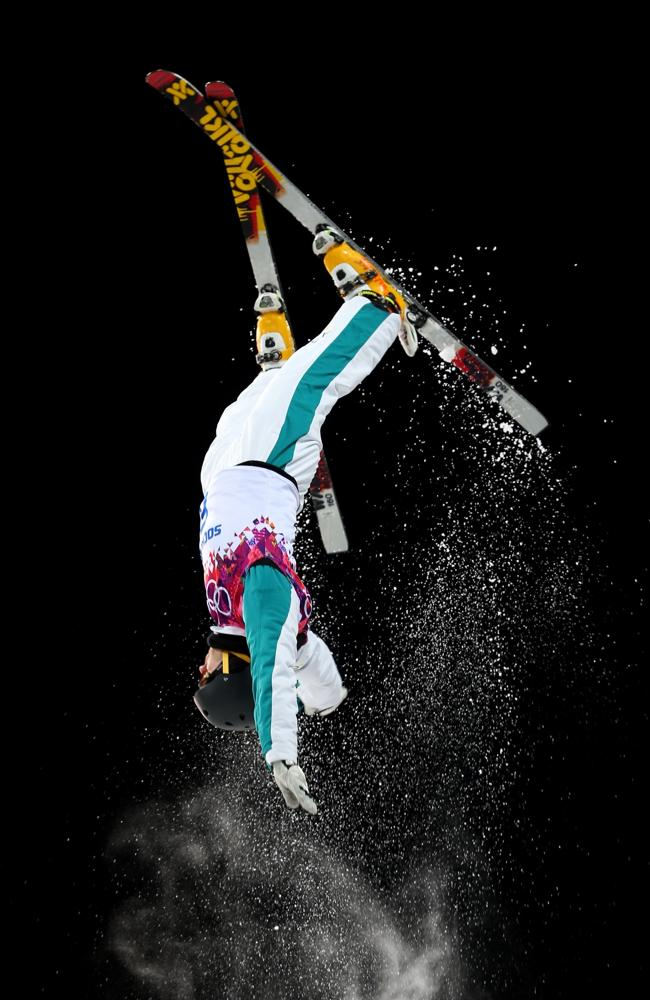 David Morris of Australia competes in the Freestyle Skiing Men's Aerials Finals on day ten of the 2014 Winter Olympics.