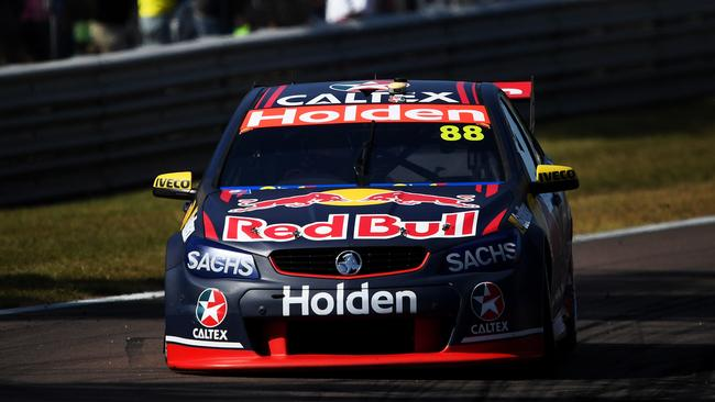 Jamie Whincup led most of the race until being outgunned by McLaughlin late