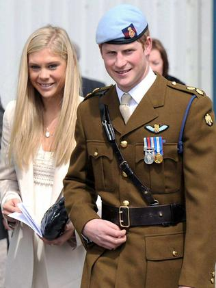 Blonde again...Harry's seen here with ex girlfriend Chelsy Davy in 2010. Picture: Splash News