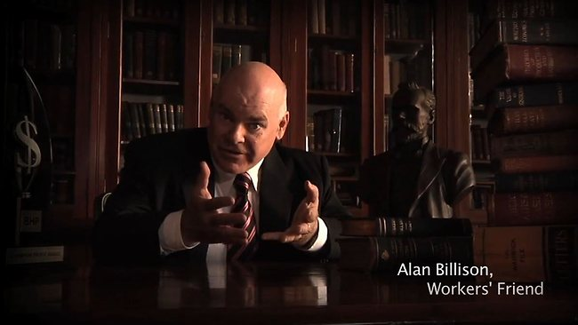 Allan Billison is a comedy character created by Manic Studios, shown here in a video for the CFMEU. Source: YouTube.com