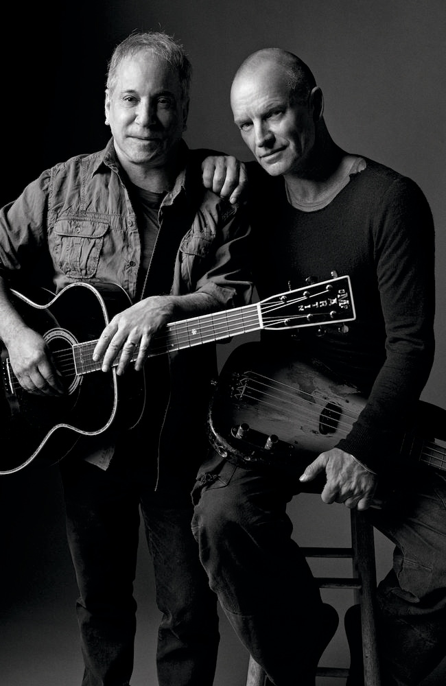 Music's odd couple ... Paul Simon and Sting will tour Australia early next year.