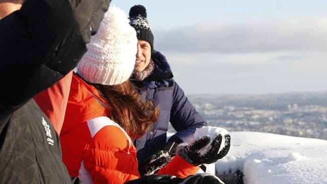 Aim: Kate prepares to throw a snowball at Prince William during their visit at Holmenkollen Ski Arena in Oslo, Norway. Picture: Cornelius Poppe/via AP