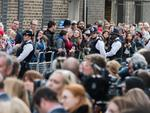 Crowds are pictured in London as Prince William and The Duchess of Cambridge seen leaving the Lido Wing Hospital with their newborn baby, 23 Apr 2018. Picture: MEGA