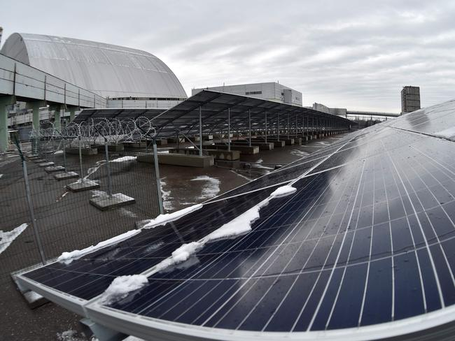 Photovoltaic panels fitted to the fourth block of the Chernobyl nuclear plant on December. Picture: AFP