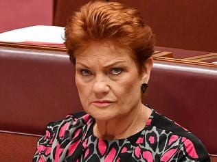 One Nation leader Senator Pauline Hanson during a debate on Racial Discrimination Act in the Senate chamber at Parliament House in Canberra, Friday, March 31, 2017. (AAP Image/Mick Tsikas) NO ARCHIVING