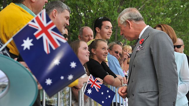 Prince Charles meets with the crowd in Canberra on the last leg of his Australian tour for the Queen's Diamond Jubilee.