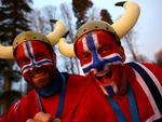 Norwegian fans attend the Women's 10 km Pursuit.