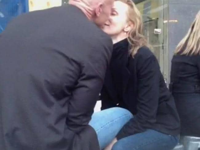 Lisa McCune and Teddy Tahu Rhodes seen kissing in Melbourne in August, 2012.