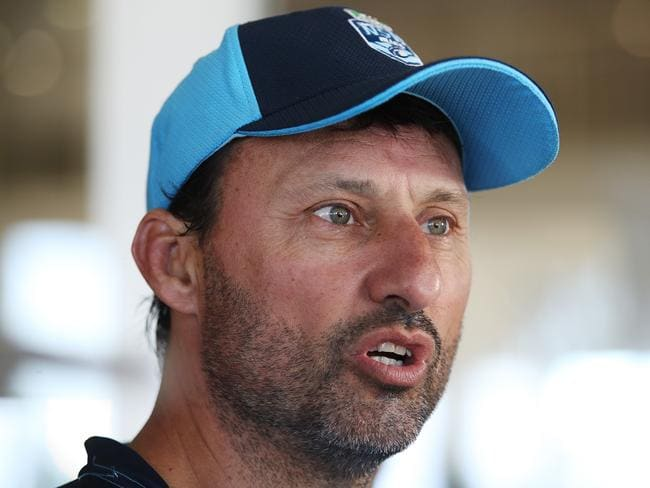 NSW coach Laurie Daley speaks during a press conference.