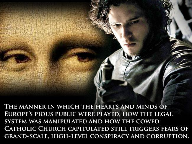 A modern twist ... from Da Vinci Code to Game of Thrones, the idea of the warrior-monks and the conspiracy that surrounded their downfall lives on. (Main image, right, from 'Game of Thrones' and, inset' a promotional image from the Da Vinci Code)