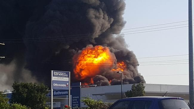 Fire behind Officeworks on Sandgate Rd, Virginia. Picture: Richard Waugh