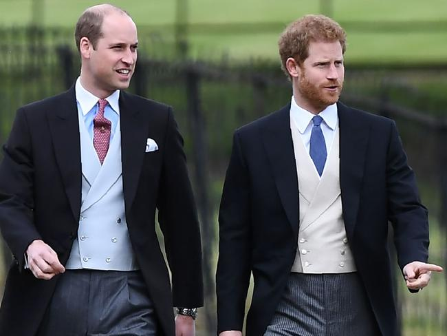 Britain's Prince Harry (R) and Britain's Prince William, Duke of Cambridge walk to the church for the wedding of Pippa Middleton and James Matthews. Picture: AFP