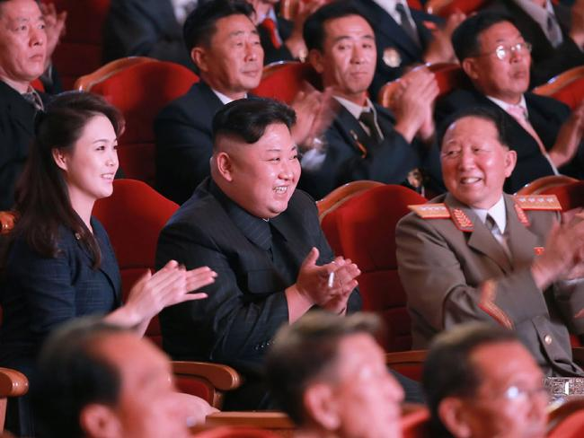 This is the first time Ri Sol-Ju, 27, has been seen in public since December. Picture: AFP / KCNA VIA KNS / STR /