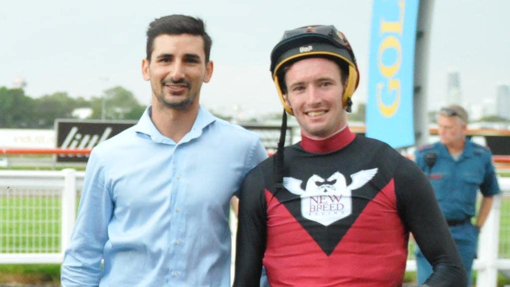 Jockey Ryan Plumb (right) has already recorded 10 wins this season. Photo: Jessica Hawks, Trackside Photography.