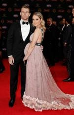 Robbie Gray of the Power and partner Annabel Gray arrive during the Swisse Brownlow Red Carpet Arrivals at the Crown Palladium on September 25, 2017 in Melbourne, Australia. Picture: Adam Trafford/AFL Media