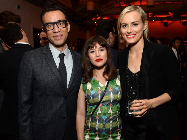 Supportive cast ... Fred Armisen with Orange is the New Black stars Yael Stone, and Taylor Schilling.