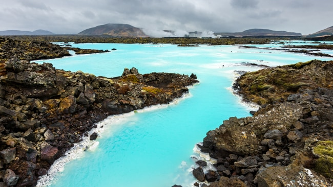 Wide angle view of the landscape at the Blue Lagoon in Iceland, Europe.