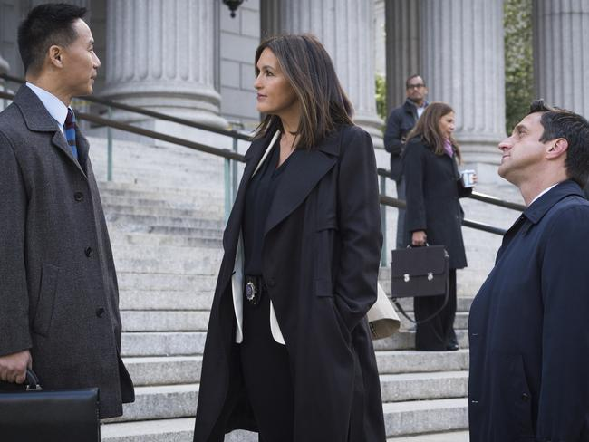 BD Wong as Dr. George Huang, Mariska Hargitay as Lieutenant Olivia Benson and Raúl Esparza as A.D.A. Rafael Barba.