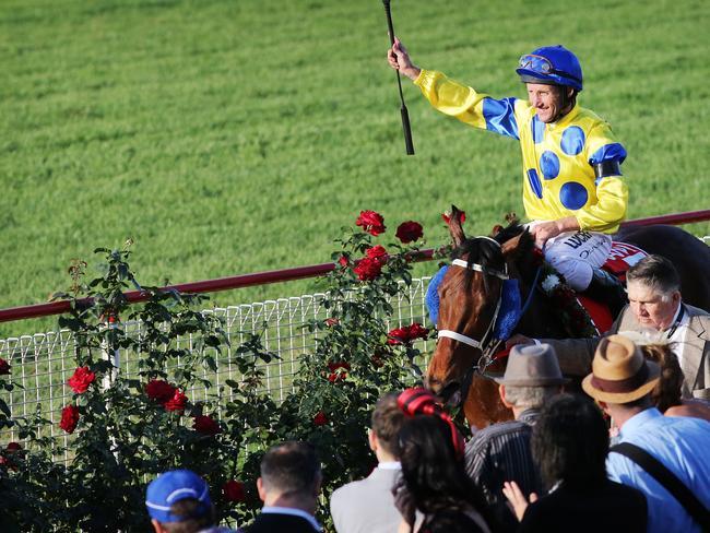 Damien Oliver celebrates winning the Stradbroke Handicap. Picture: Tara Croser