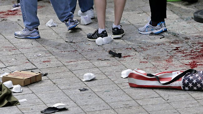 In this April 15, 2013, file photo, blood from victims covers the sidewalk on Boylston Street, at the site of an explosion during the 2013 Boston Marathon in Boston. Picture: Charles Krupa