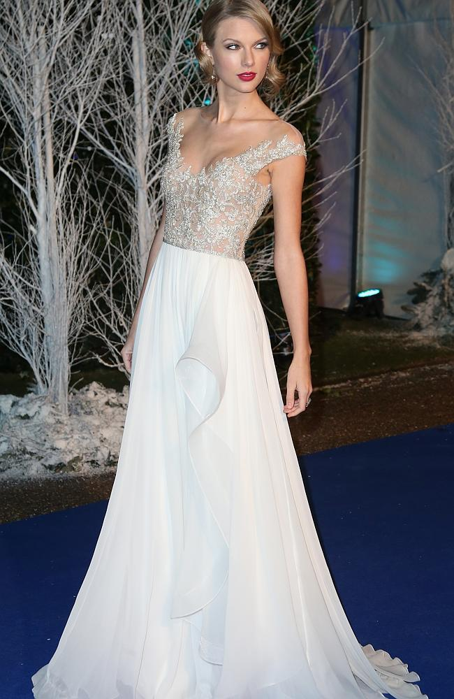 Taylor Swift at Kensington Palace for the Centrepoint Winter Whites Gala in London. Picture: Chris Jackson/Getty