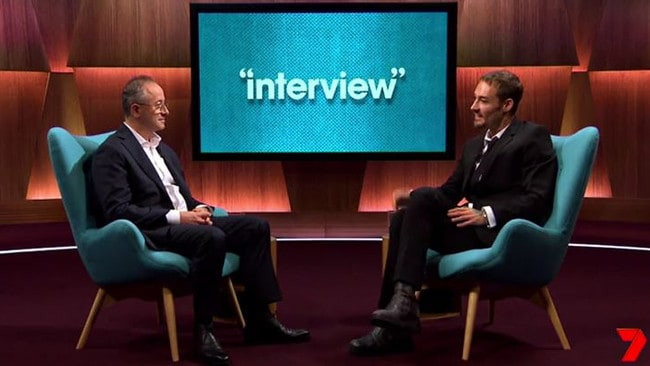 Daniel Johns is interviewed by former Enough Rope host Andrew Denton. Picture: Supplied