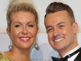 Australian television presenter Grant Denyer and Cheryl Denyer arrive at the 2017 Logie Awards at the Crown Casino in Melbourne, Australia, Sunday, April 23, 2017. (AAP Image/Joe Castro) NO ARCHIVING