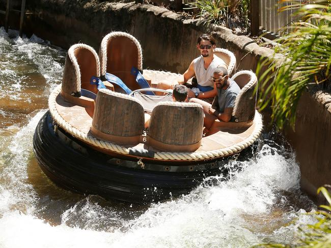 Hitting the rapids at Dreamworld.