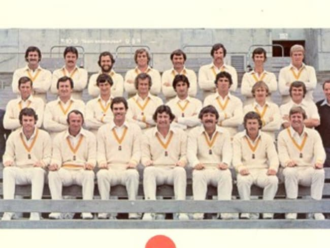 Greg Chappell (front, 3rd from left) and Rod Marsh (front, fifth from left) during World Series Cricket. Picture: News Corp