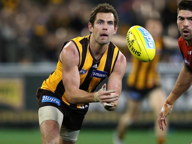 Hawthorn's Luke Hodge was at his courageous best against Melbourne. Picture: George Salpigtidis