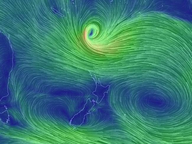 Animated view of Cyclone Lusi near New Zealand showing wind and current ..pic from earth.nullschool.net Picture: Supplied